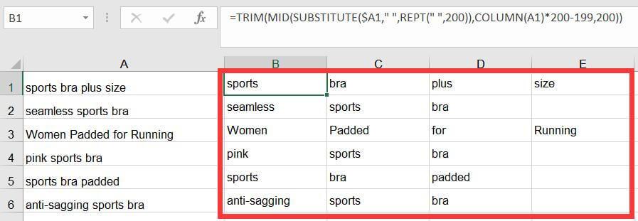 Excel表格横向分列公式