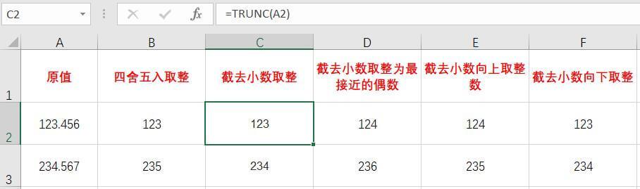 Excel数值四舍五入、去小数点、偶数取整