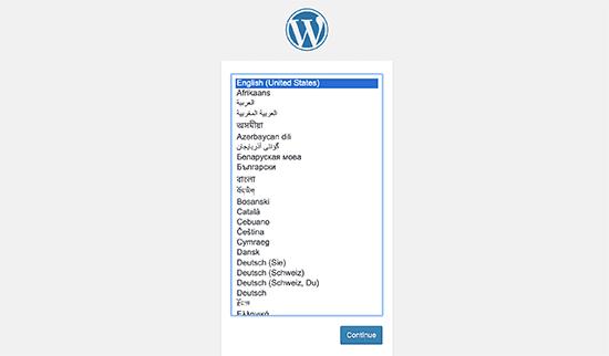选择WordPress语言