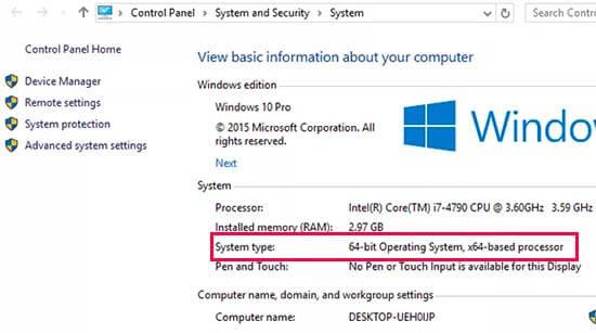 在Windows 10中查找操作系统类型