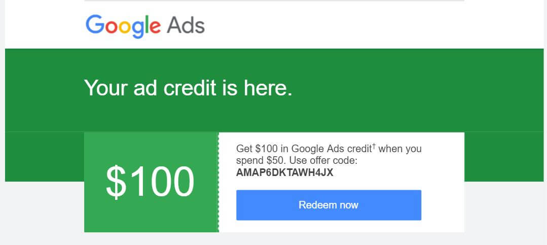 Google adwords广告优惠券促销代码