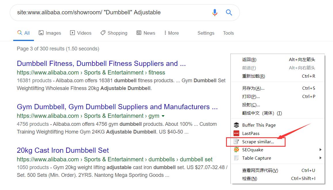 提取google中alibaba国际站页面URL获取关键词 4