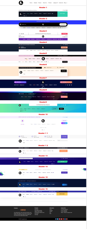 Divi builder设计页眉菜单栏Header演示模板 3
